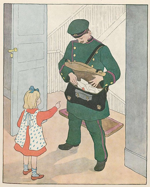 chromolithograph of postman delivering mail to child