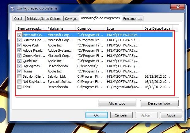 Desativando programas da inicialização do Windows (Foto: Reprodução/Edivaldo Brito)