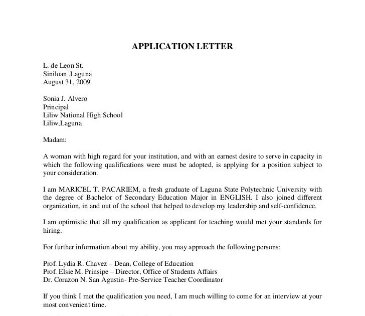 Cover Letter For Internship In Computer Science: Letter Of Application: Sample Of Application Letter For