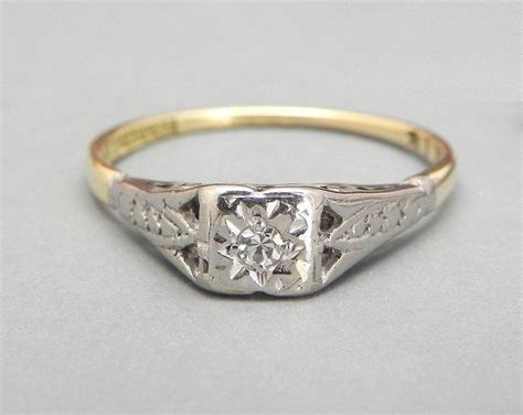 Art Deco Diamond Engagement Ring 1920s Diamond Solitaire