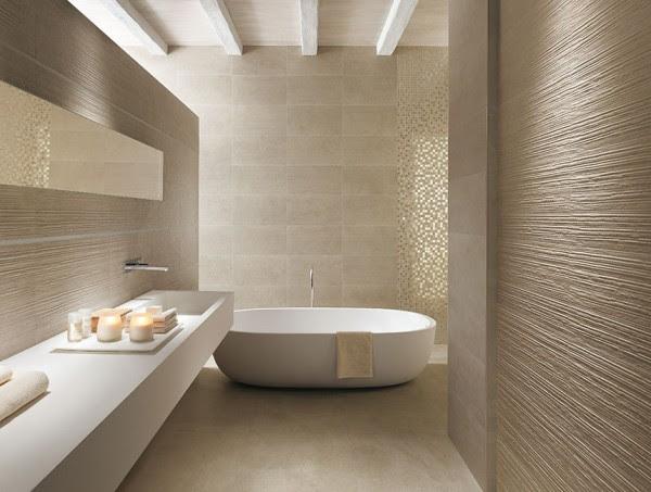 Textured bathroom walls