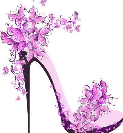 creative violet floral high heeled shoes vector titanui