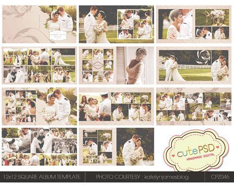 Cute Psd Studio: Instant Download 12x12 Square wedding