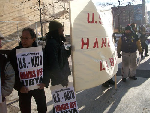 Detroit demonstration opposing U.S./NATO intervention in the North African state of Libya. The picket was held outside the federal bldg. in downtown Detroit during rush hour on March 11, 2011. (Photo: Abayomi Azikiwe) by Pan-African News Wire File Photos
