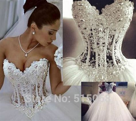 Gorgeous Pearl Beaded Lace Sweetheart See Through Corset