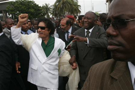 Martyred Libyan leader Col. Muammar Gaddafi with imperialist-deposed Ivorian president Laurent Gbagbo. The imperialists have escalated their destabilization efforts on the African continent. by Pan-African News Wire File Photos
