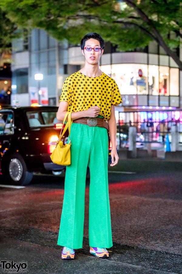colorful retro japanese street style in harajuku w