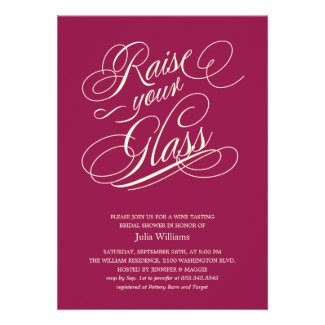 "Wine Red ""Raise Your Glass"" Shower Invitations"