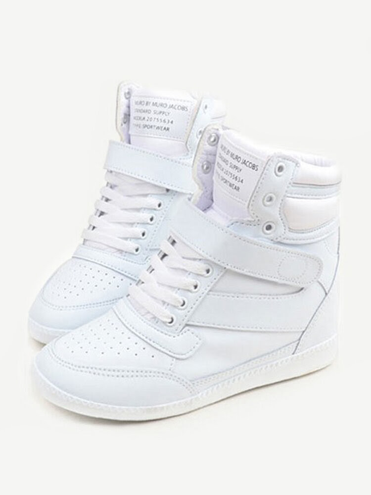 White Hook Loop Lace Up Heel Increasing High Top Casual Sport Shoes