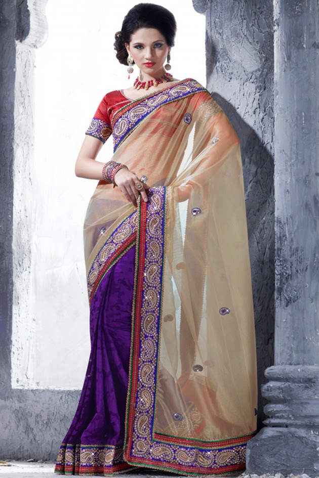 Indian-Brides-Bridal-Wedding-Party-Wear-Embroidered-Saree-Design-New-Fashion-Reception-Sari-