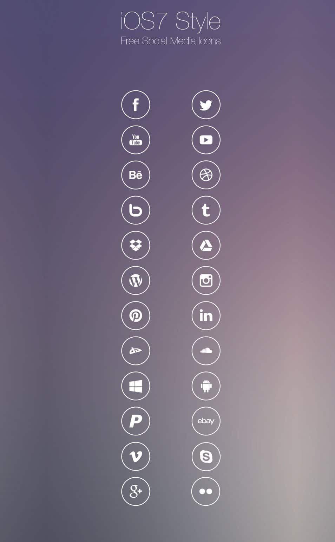 Free iOS7 Style Social Media Icons