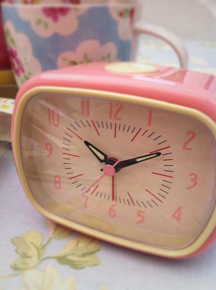 Retro Alarm Clock Pink, Retro Alarm Clock Pink, £11.50, Plum Green & The Suffolk Flower Company