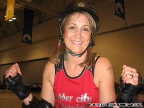Librarian Beth Hollis gets ready to rumble in her Rubber City Rollergirls gear.