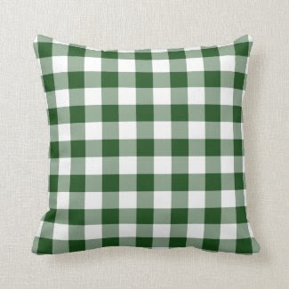 Green and White Gingham Pattern Throw Pillow