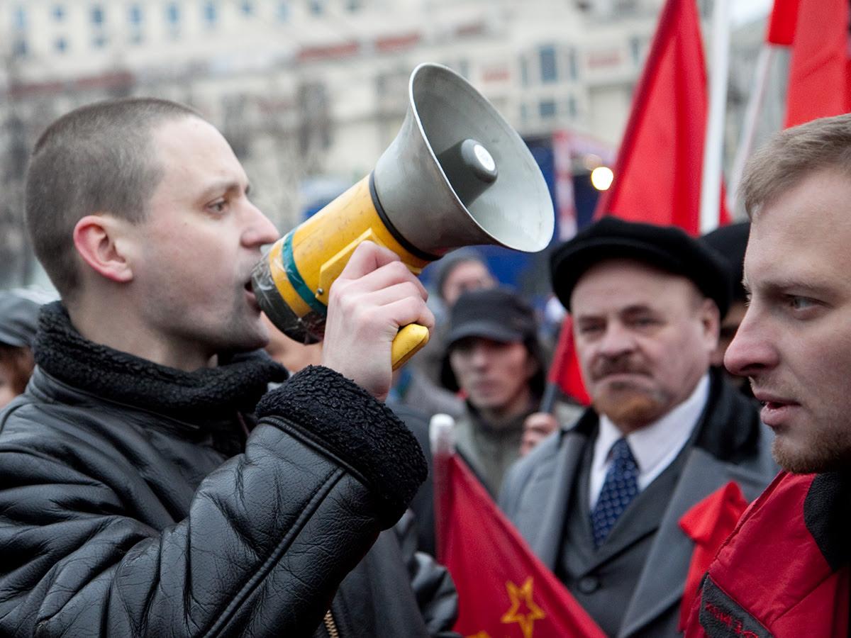 Сергей Удальцов на марше в честь 92-й годовщины Октябрьской революции