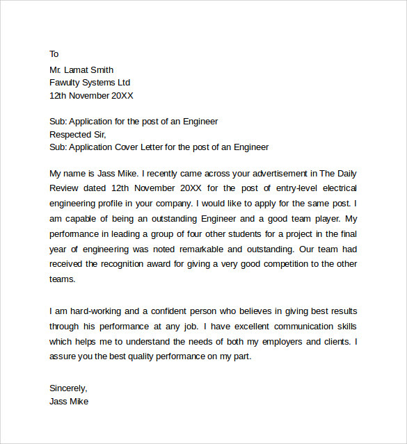 Engineering Job Application Cover Letter