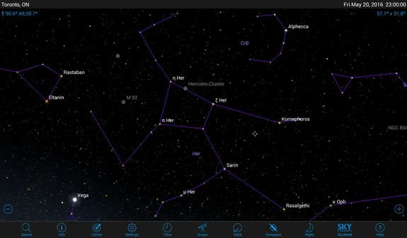 Only a few stars of Hercules were prominent enough for proper names. The others bear the Greek letter designations of Bayer's system. Deep-sky objects are represented by symbols. On your app, tap a symbol to call up details about that object.