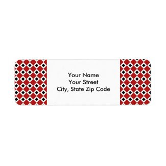 Red, White, Black Diamond Pattern address label