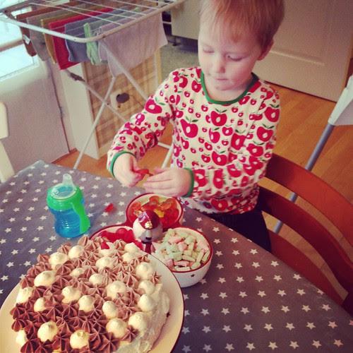 Titus making birthday cake