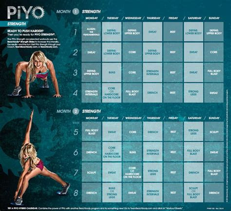 piyo strength workout calendar beachbody pinterest
