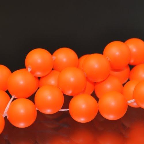 "s33097 Swarovski Neon Pearl - 10 mm Round Pearl (5811) - Neon Orange Pearl (10) - <font color=""#FF0000"">Discontinued</font> - 60% off!"