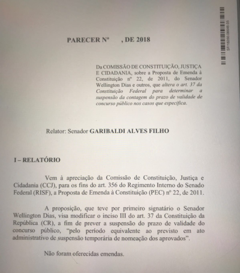 PEC de Garibalde Alves quer acabar com a obrigatoriedade de convocar concursado em prazo de 2 anos
