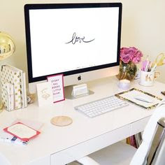 Kristin Brophy of Fancy Things blog featuring a gold moroccan pouf, West Elm rug, Voluspa candles, West Elm desk, Kate Spade gold dots agenda, and Urban Outfitters gold desk lamp