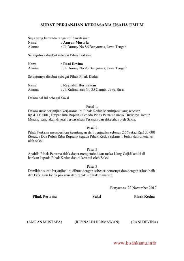 Contoh Surat Perjanjian Kerjasama Usaha Warnet