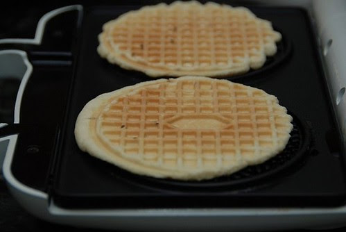 baked pizzelles on the iron