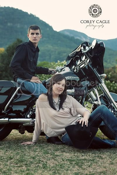 Engagement session on a harley