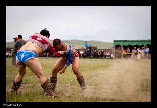 Mongolian Wrestling at the Tsenkher Naadam