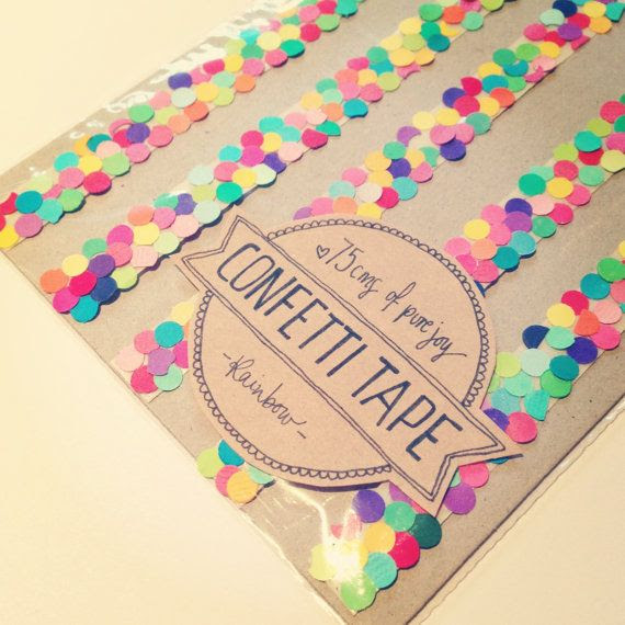 """Create """"confetti"""" tape using double-sided tape. Adhere one side to the card, and sprinkle confetti over the other side. Perfect to celebrate birthdays or service anniversaries."""