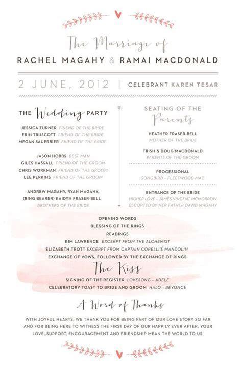 great layout for a wedding timeline/program   Wedding