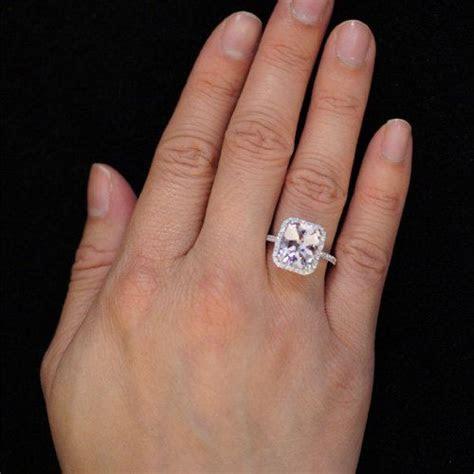 White Gold Cushion Cut Morganite Diamond Halo Solitaire