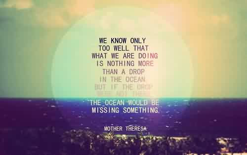 Life Quotes By Mother Theresa The Ocean Would Be Missing Something