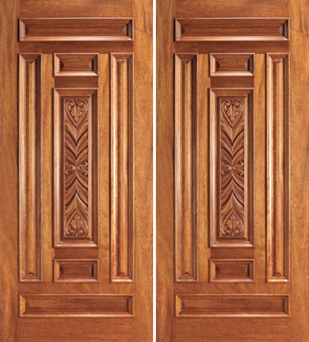 Entry Mahogany Wood Hand Carved 7 Panel Traditional Double Door ...
