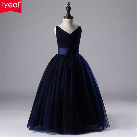 IYEAL Kids Girl Wedding Dress Children Brand Clothing Navy