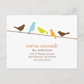 Colorful Birds On a Wire New Address Announcements Post Cards