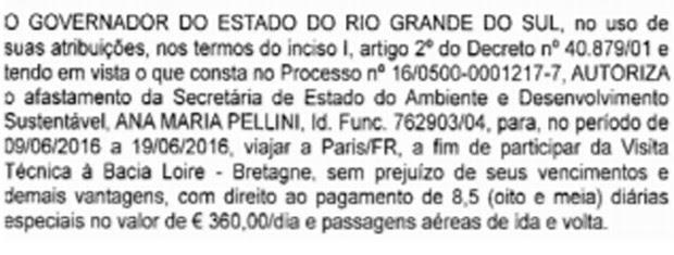 Autorização de gasto publicada no Diário Oficial do estado (Foto: Reprodução)