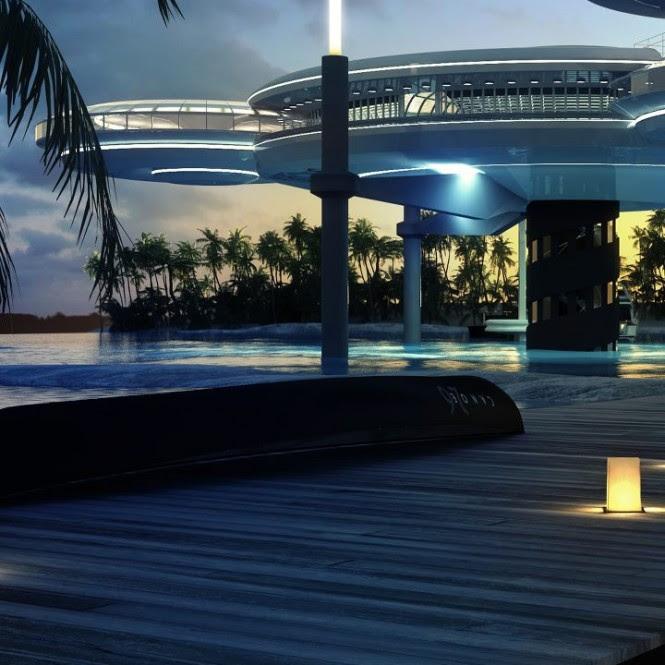 Futuristic hotel complex