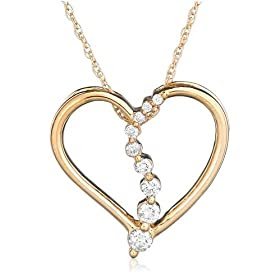 10k Choice of White or Yellow Gold Journey Diamond Heart Shaped Pendant (1/5 cttw, G-H Color, I1 Clarity)