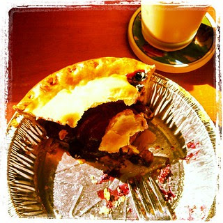 What, you've never had #pie for #breakfast #dontjudge #peach #blueberry #icedcoffee