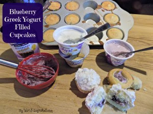 Blueberry Greek Yogurt Filled Cupcakes