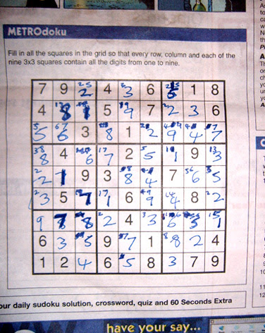 Sudoku I curse you - my second completed puzzle in Metro!