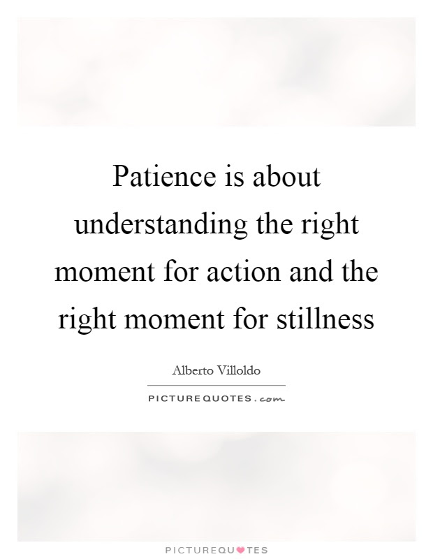 Patience Is About Understanding The Right Moment For Action And