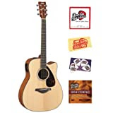 Yamaha FGX700SC Solid Top Cutaway Acoustic-Electric Guitar Bundle with Instructional DVD, Strings, Pick Card,...