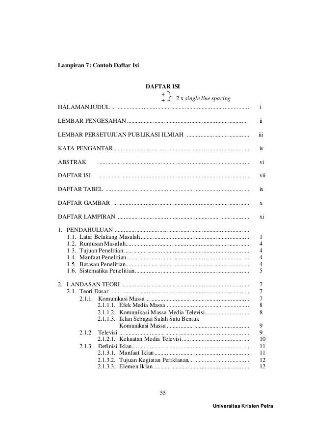 Contoh Daftar Isi Skripsi Bahasa Inggris Pejuang Skripsi