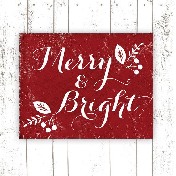 Christmas Decoration  Merry and Bright  by MooseberryPrintShop, $18.00