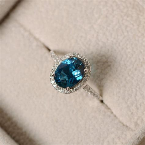 London blue topaz ring, oval gemstone, from LuoJewelry on Etsy