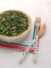 Croustades con fave, piselli e asparagi selvatici
